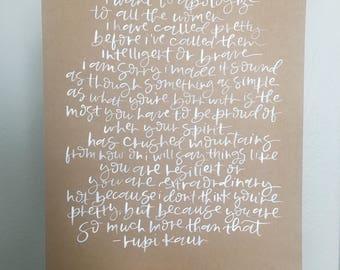 Apologize - Handmade Individually Brush Lettered Poem