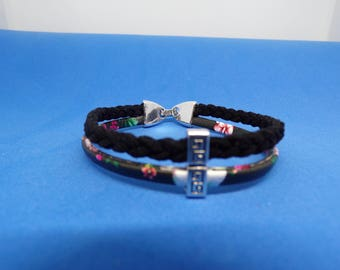 Multicolor and braided cord bracelet
