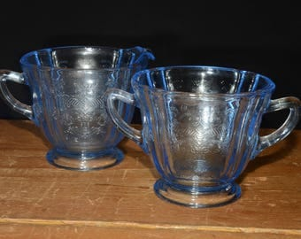 INDIANA GLASS, Creamer and sugar bowl, Recollection, Madrid, Indiana Glass Company, Blue Glass, Pressed Glass, 1970s