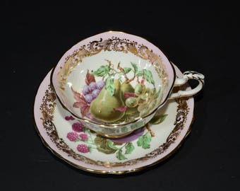 PARAGON, fruit center, Footed, Tea Cup & Saucer Set, widemouth, pink band, Bone China, Blue, Gold, art deco,pears, fruit, flower