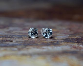 White Topaz & Sterling Silver Stud Earrings, Gemstone Earrings, November Birthstone, Gift for Wife, Gemstone Jewellery