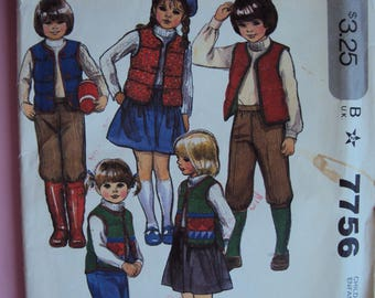 Mcall's 7756 children's vest,skirt,  pants or knickers pattern- size 3 -uncut