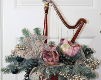 Centerpiece, Harp, Blue Spruce, Velvet Tulips, Berries