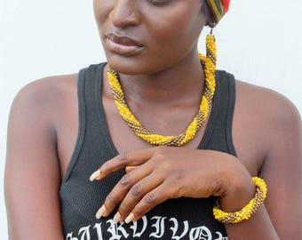 Crochet beaded necklace, bracelet and earrings