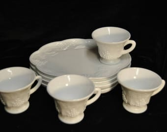 Vintage Indiana Glass White Milk Glass Snack set in the Grape Harvest Pattern