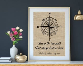 Compass Quote Wedding Gift, Compass Quotes Anniversary Gift, Burlap Wedding Print, Bestfriend Gift, Gift for Bestfriend