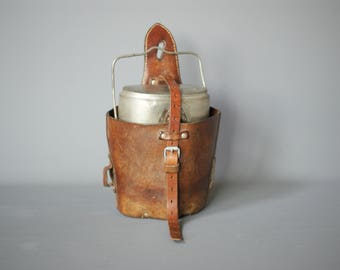 Swiss Army 1954 Food Canister Bag, Swiss Military Leather Case, Swiss Army Leather Bag, Switzerland, Swiss Military Canister Holder