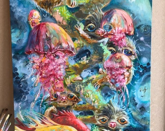 Canvas art large wall art oil painting Surreal art Original artwork seascape painting easter gift Pop surrealism  linen  unusual for mom