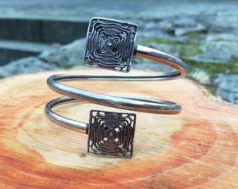 Filigree Squares Bracelet Silver-plated Brass, Elegant and Retro, Geometric and Art Deco Hippie Chic Bohemian