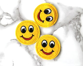 ONE Cool Emoji Smile Face Iron On Patch, School Fabric Patch, Embroidered Patch, Free Spirit, Funny Birthday Gifts For Boyfriend Under 10