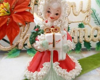 Vintage NAPCO Japan Christmas Angel Lots of Spaghetti December Foil Label S116A