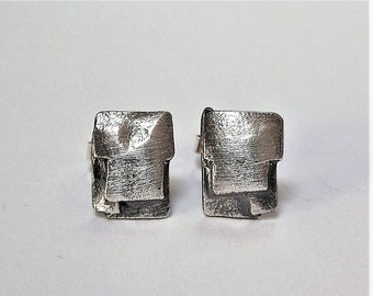 Hand made!!! Chic Stud Earrings Silver 925
