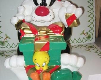 Sylvester and Tweety Christmas Cookie Jar