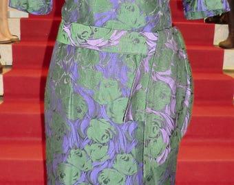 Original vintage brocade dress gr. 40/42 Purple/Green