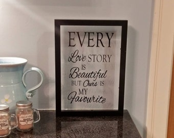 Black Floating Frame with Vinyl Quote, Love, Valentines, Anniversaries