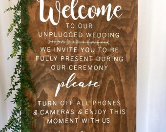 Unplugged Wedding Sign |  Wedding Sign | Wooden Wedding Sign | Unplugged Ceremony Sign | Unplugged Ceremony Wedding Sign | Ceremony Sign