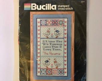 Bucilla Stamped Cross Stitch #40397 - Cherished Kitchen Sampler - Vintage Bucilla Country Needlepoint Kit