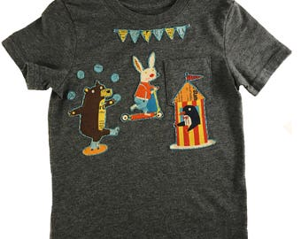Circus Animals Toddler Appliqué Gray T-Shirt, Hand Stitched