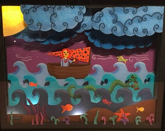 Creature from the Black Lagoon Paper Cut Diorama Light Box