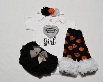 san antonio spurs baby girl outfit - baby girls san antonio spurs baby girl outfit - spurs basketball girls outfit - spurs baby girl gift