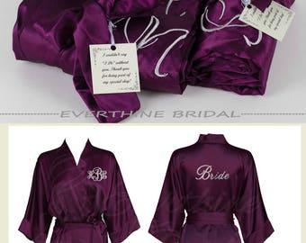 bridesmaids robes set of 4, slumber party robes, eggplant bridesmaid robe, monogram bridesmaid gift, bachelorette party, plum robe, CS01