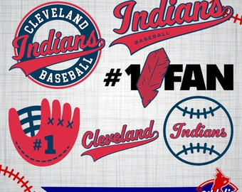 Cleveland Indians SVG Files, Cleveland Indians Printable Images, Baseball Logos, Silhouette Cricut, Baseball eps, png, dxf, jpg, pdf A-28