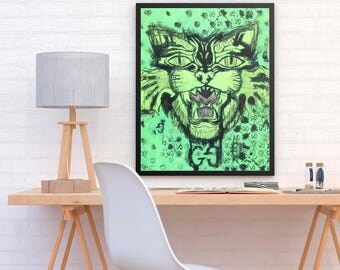 ALI - Gucci Double G Beast grass green poster print perfect to decor your wardrobe room or home (MEGA Limited Edition)