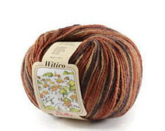 Knitting yarn. Fancy Yarn for creating baby gifts. Multi-color wool-blend  50 gr 150 meters/164 yards