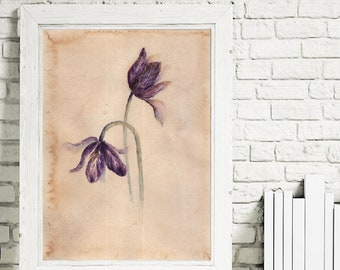 tulips print,quick print,instant download,flowers print,digital, blue flowers,picture with tulips,watercolor,watercolor flowers,black flower