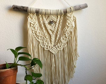 Medium Macrame Wall Hanging with Genuine Green and Brown Crystal on Foraged Driftwood, Woven Wall Hanging, Boho Home Woven Tapestry
