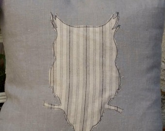 Handmade 100% linen with cotton applique owl silhouette cushion cover