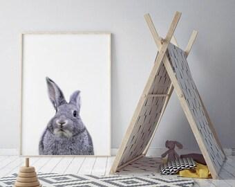 Bunny Print, Nursery Wall Art, Woodland Nursery Decor, Nursery Animal Wall Art, Rabbit Print Wall Art, Woodland Animals, Nursery Art Print