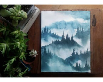 Original watercolor painting with landscape of foggy pine trees and mountains for hiker, adventurer, home, and nature lover | 8 x 10 inch
