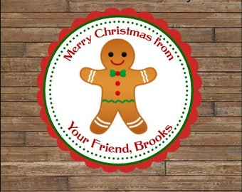 Personalized Christmas Stickers      Gingerbread  Stickers       Gingerbread Favor Tags