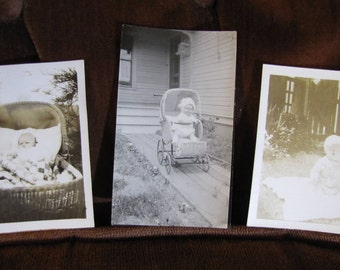 Vintage Set of 3 Child Home Photos circa 1930s - 1950s w Children, Babies, Wicker Strollers, and Bassinets in Black and White