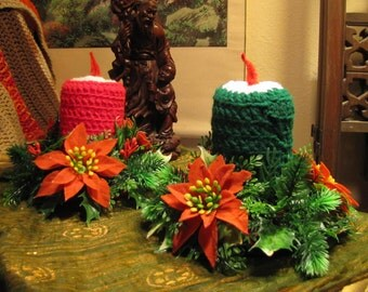 Vintage Handmade Crochet Candle Can Koozies w 1970s Cans Inside!