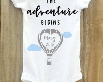 The Adventure Begins onesie, Hot Air Balloon, Pregnancy Announcement onesie, Pregnancy Reveal, Baby Announcement, Greatest adventure