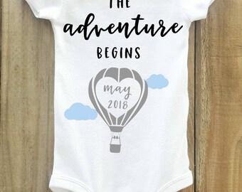 The Adventure Begins onesie, Hot Air Balloon, Pregnancy Announcement onesie, Pregnancy Reveal, Baby Announcement, Greatest adventure