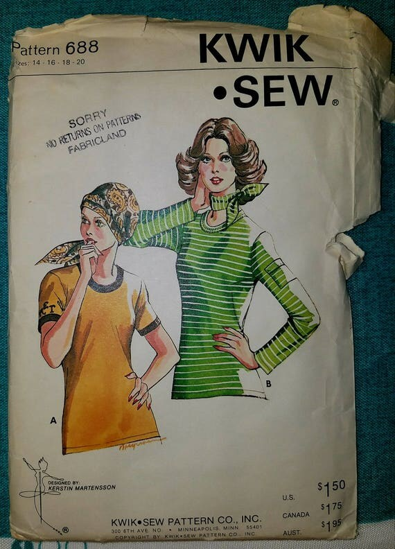 Kwik Nähen Muster 668 Vintage-Top und Schal