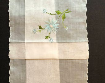 Vintage NEW with sticker Hankie with Blue Embroidered Flowers