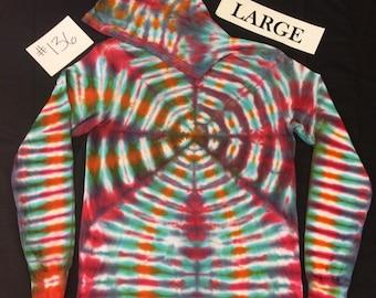 Adult Large Long Sleeve Hooded Tie Dye Shirt