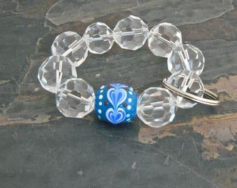 Keychain Bracelet, Bracelet Keychain, Beaded Keychain, Key Wristlet, Handsfree Keychain, Bracelet for Keys,  Fashion Keychain, OOAK