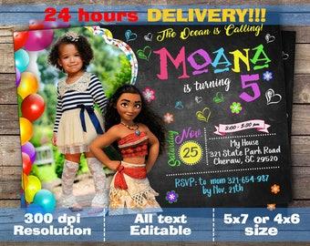 Moana Invitation, Moana Party, Girl Moana Invitation, Moana Birthday Invitation, Pink Moana Invitation, Moana Invite Printable