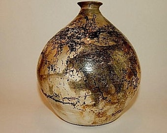 Globe Shaped Pottery Vase Horsehair and Smoke Fired