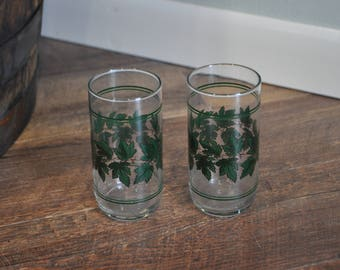 Glass Ivy Tumbler Cups - Set of 2