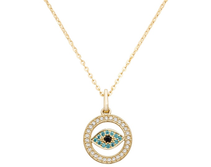"""9ct Yellow Gold & Pave Cz Evil Eye Pendant on 16""""-18"""" Necklace"""