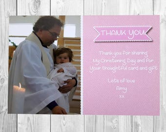 10 x Christening Thank You Cards  Girl Christening Baptism Thanks Cards