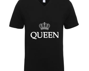 Queen with Crown Shirts Adult Unisex Men Size V Neck Best Seller T-Shirts Couple Goals Gifts