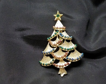 Vintage Gold Tone Gerrys CHRISTMAS TREE Brooch Pin