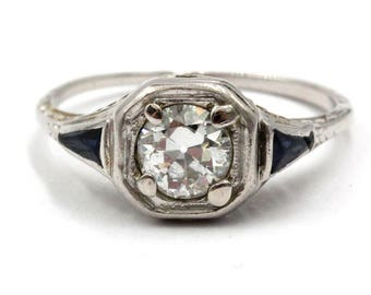 14K White Gold Old European Cut Diamond and Synthetic Sapphire Ring